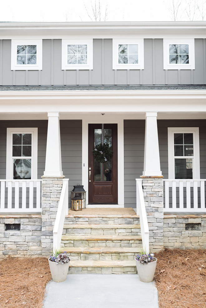 Craftsman Porch Pillars. Craftsman Porch Pillars with stone and porch railing. Craftsman Porch Pillars #Craftsman #PorchPillars #CraftsmanPorchPillars #CraftsmanPillars Beautiful Homes of Instagram @thegraycottage