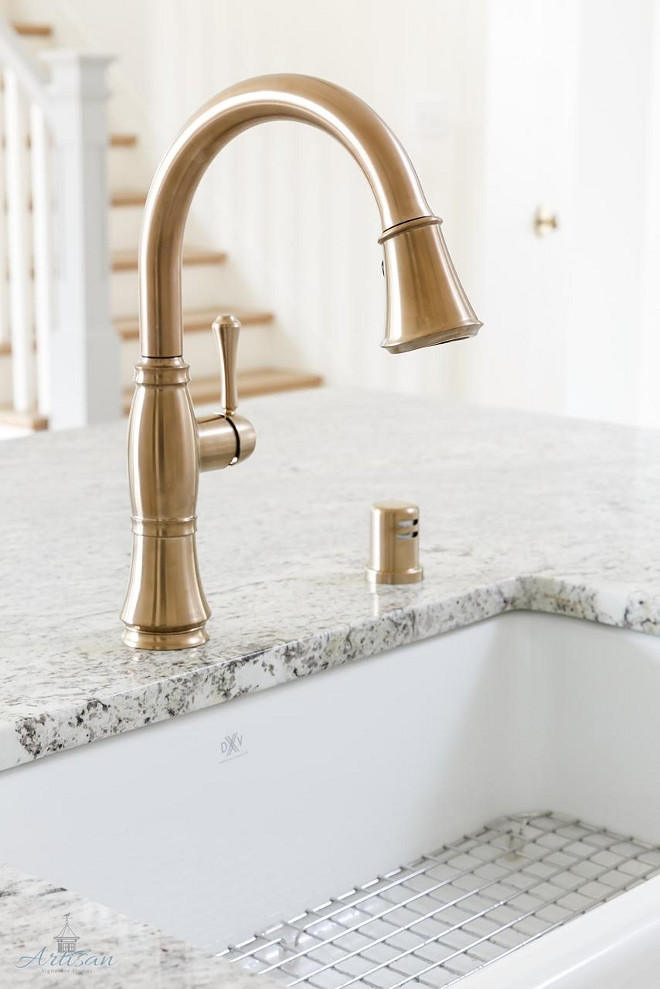 Delta Brass Kitchen Faucet. Delta Brass Kitchen Faucet #Delta #BrassKitchenFaucet Built by Artisan Signature Homes. Interior Design by Gretchen Black from Greyhouse Design.