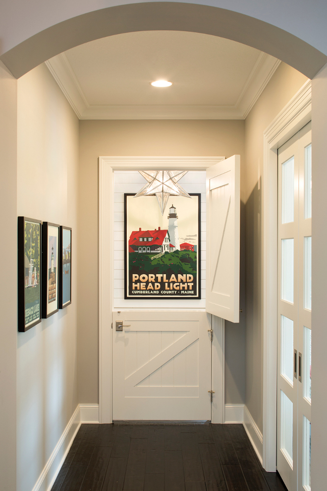 Dutch Door, Interior Dutch Door, Dutch Door to mudroom, Wall paint color is Benjamin Moore Silver Chain and Dutch Door and trim paint color is Benjamin Moore White Dove #DutchDoor Grace Hill Design
