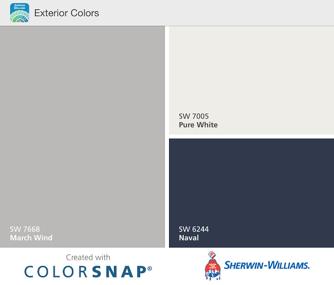 Exterior Color Scheme. Easy Exterior Color Scheme Ideas. Home Exterior Color Scheme. Grey siding Sherwin Williams SW7668 March Wind. White Trim Paint Color Sherwin Williams SW7005 Pure white. Navy Front Door paint Color Sherwin Williams SW6244 Naval. Sherwin Williams Home Exterior Color Scheme ideas #ExteriorColorScheme #Easy#ExteriorColorSchemeIdeas #HomeExteriorColorScheme #Greysiding #SherwinWilliamsSW7668MarchWind #WhiteTrimPaintColor #SherwinWilliamsSW7005Purewhite #NavyFrontDoorpaintColor #SherwinWilliamsSW6244Naval #SherwinWilliams #HomeExteriorColorSchemeideas