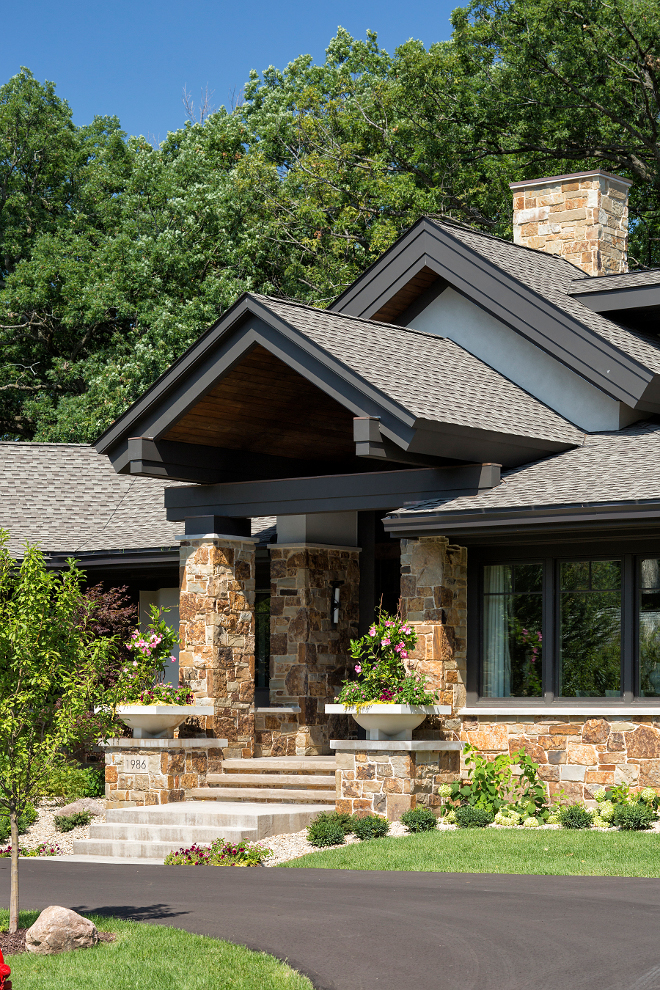 Exterior Stone Pillar, Porch Stone Pillar, Exterior Stone Pillar, The stone is a custom mix with Copper Mountain Ledge stone, Exterior Porch Stone Pillar #Exterior #Porch #Stone #Pillar Hendel Homes