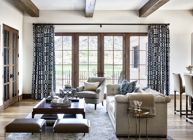 Family room French Doors. White oak French Doors #Familyroom #FrenchDoors #WhiteoakFrenchDoors Kim Scodro Interiors