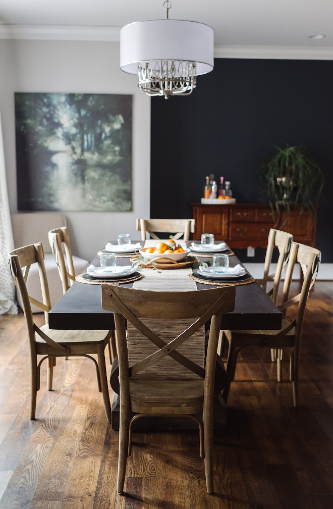 Farmhouse Dining Room, Famrhouse dining room with 8ft Concrete Pedestal Table. Farmhouse Dining Room, Farmhouse Dining Room #FarmhouseDiningRoom Beautiful Homes of Instagram @thegraycottage
