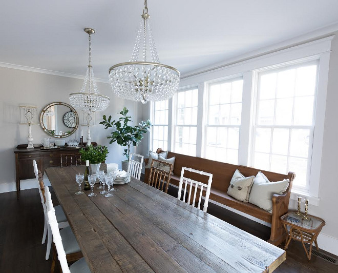 Farmhouse Dining Room with Beaded Chandelier. The beaded chandelier softens this farmhouse dining room. #Farmhouse #DiningRoom #BeadedChandelier Beautiful Homes of Instagram @greensprucedesigns