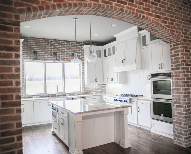 Farmhouse Kitchen with Exposed Brick. Exposed Brick Kitchen. Exposed Brick Backsplash. Exposed Brick Arch. Farmhouse Kitchen #FarmhouseKitchen #ExposedBrick #ExposedBrickKitchen #ExposedBrickBacksplash #ExposedBrickArch #FarmhouseKitchen #FarmhouseKitchenBrick #FarmhouseKitchen Crestmont Custom Homes. House Sprucing