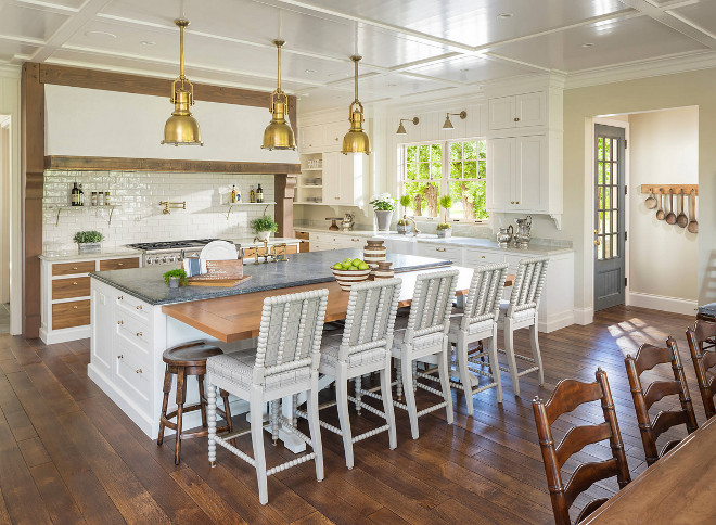 Farmhouse Kitchen. Neutral Farmhouse Kitchen. Farmhouse kitchen with spindle barstools. Farmhouse Kitchen. Farmhouse Kitchen #FarmhouseKitchen #Farmhouse #Kitchen Jackson and LeRoy