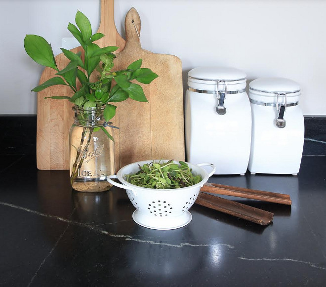 Farmhouse kitchen countertop. The perimeter countertop of this farmhouse is Soapstone. #Soapstone #Farmhousekitchencountertop #soapstonecountertop #perimetercountertop Beautiful Homes of Instagram @greensprucedesigns