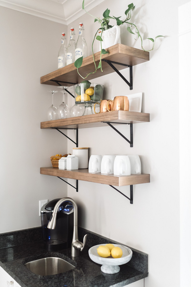 Farmhouse pantry. Open shelves farmhouse pantry. Open shelves farmhouse pantry ideas. Open shelves farmhouse pantry Wood shelves - Lowe's #Openshelves #farmhousepantry Beautiful Homes of Instagram @thegraycottage