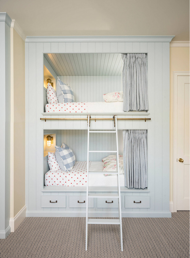 Farrow and Ball Borrowed Light. Farrow and Ball Borrowed Light. Light blue gray bunk beds and shiplap painted in Farrow and Ball Borrowed Light. #FarrowandBallBorrowedLight