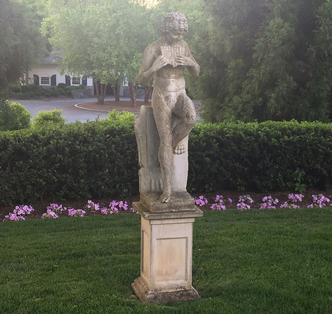 Garden Statue. Garden Statues. Classic Garden Statue.  Marble statue of Daphnis from Treillage.  #GardenStatue Home Bunch's Beautiful Homes of Instagram @loveyourperch