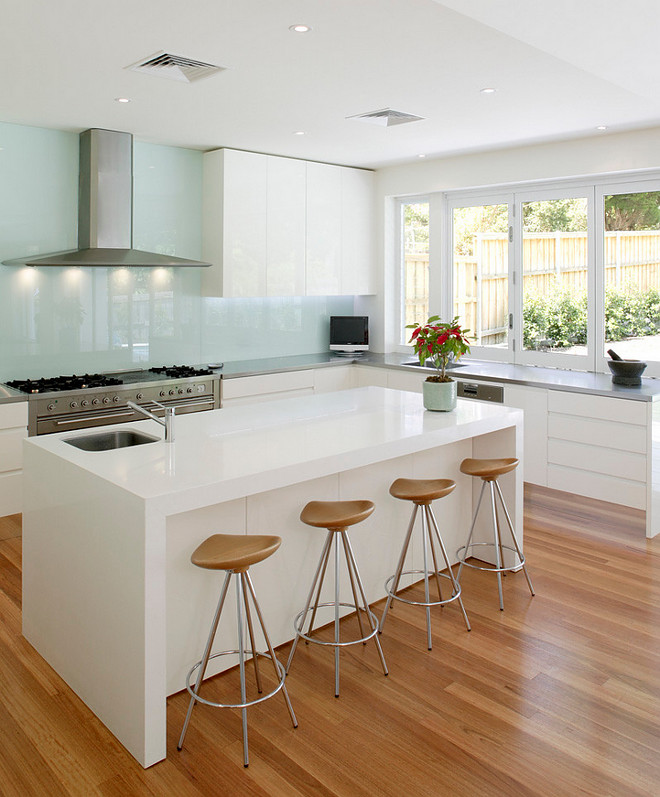 "Glass Splashback. Countertop: The perimeter countertop is Stainless steel and island is Quantum Quartz. Splash backs are laminated glass. Glass Splashback. Glass Splashback #GlassSplashback Andrew Dee @ Wonderful Kitchens"" Willoughby"""