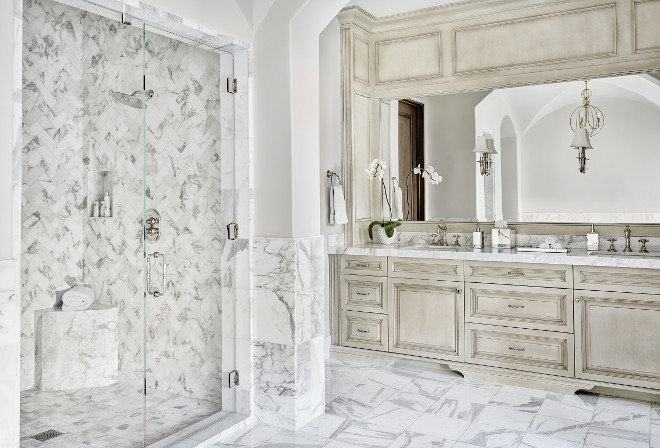 Glazed Bathroom Cabinet. French inspired bathroom with glazed cabinets. #bathroom #glazedcabinets #Frenchbathroomcabinet Kim Scodro Interiors