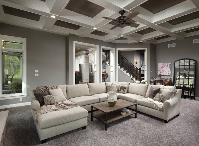 Grey farmhouse living room with coffered ceiling and grey walls. Grey wall paint color is Sherwin Williams SW 9170 Acier. #SherwinWilliamsSW9170Acier Barrington Homes Inc.