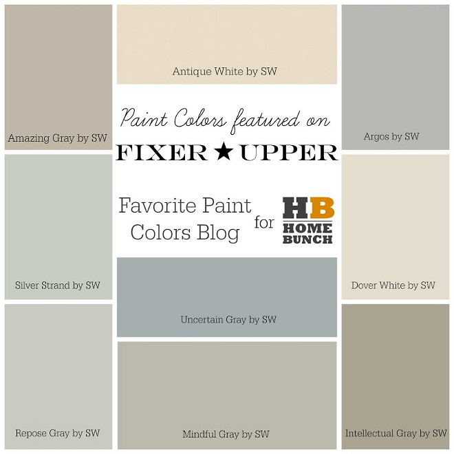 Fixer Upper Paint Colors. HGTV Fixer Upper Favorite Paint Colors. Amazing Gray SW7044 Sherwin Williams, Antique White SW6119 Sherwin Williams, Argos SW7065 Sherwin Williams, Silver Strand SW7057 Sherwin Williams, Uncertain Gray SW6234 Sherwin Williams, Dover White SW6385 Sherwin Williams, Repose Gray SW7015 Sherwin Williams, Mindful Gray SW7016 Sherwin Williams, Intellectual Gray SW7045 Sherwin Williams #FixerUpper #PaintColors #HGTVFixerUpperFavoritePaintColors #HGTVFixerUpper #FavoritePaintColors #FixerUpperPaintColors #AmazingGray SW7044SherwinWilliams #AntiqueWhiteSW6119SherwinWilliams #ArgosSW7065SherwinWilliams #SilverStrandSW7057SherwinWilliams #UncertainGraySW6234SherwinWilliams #DoverWhiteSW6385SherwinWilliams #ReposeGraySW7015SherwinWilliams #MindfulGraySW7016SherwinWilliams #IntellectualGraySW7045SherwinWilliams Favorite Paint Colors Blog for Home Bunch