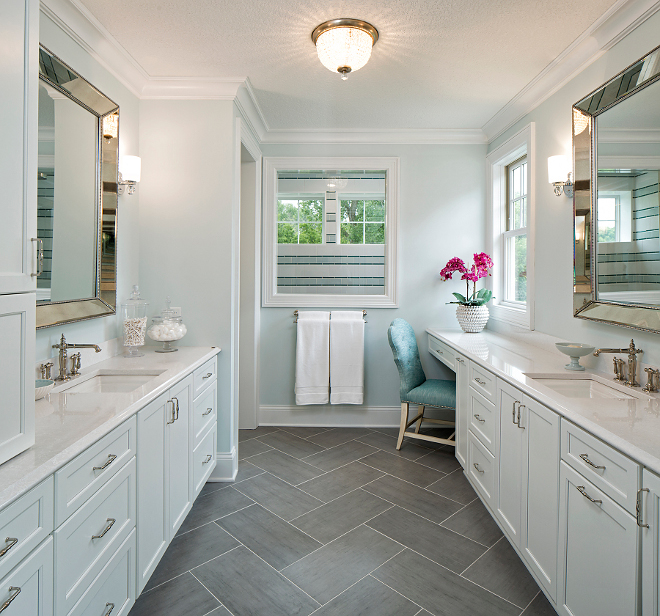 Herringbone bathroom flooring. Bathroom flooring is Bluestone laid in a herringbone pattern #Bluestone #herringbonetile #herringbonepattern Grace Hill Design
