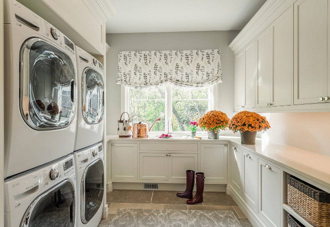 Laundry room, Laundry room with double stacked washer and dryer. Laundry room with double stacked washer and dryer and limestone floor tiles Laundry room, Laundry room with double stacked washer and dryer #Laundryroom #Laundryrooms #doublestackedwasheranddryer #stackedwasheranddryer