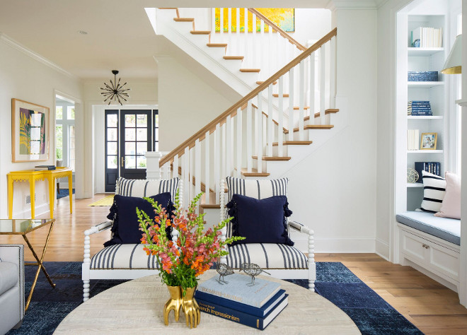 Living room color palette. Living room color palette of whites, blues, navy and yellow. Living room color palette ideas. #Livingroom #colorpalette Martha O'Hara Interiors. John Kraemer & Sons