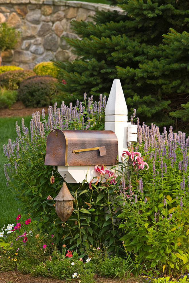 Mailbox. Giant Hyssop and lilies surround this copper mailbox. #Mailbox
