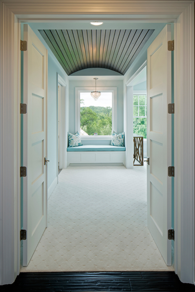 Master Bedroom Door, Double doors open to a master bedroom with barrel ceiling and window seat #Masterbedroom #barrelceiling #windowseat Grace Hill Design