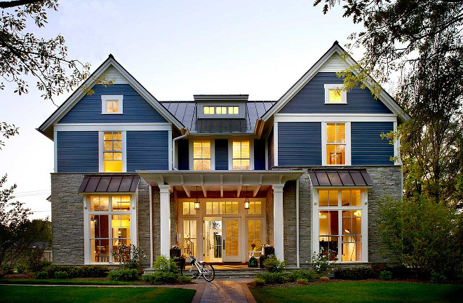 Modern Farmhouse Exterior. Non-white farmhouse. Modern farmhouse exterior can be painted in other colors beside white, this navy exterior works beautifully with the stone #modernfamrhouse #farmhouseexterior #farmhouseexteriorpaintcolor #farmhousestone #modernfamrhouseexterior #modernfamrhousepaintcolor #farmhouse Charles Vincent George Architects, Inc
