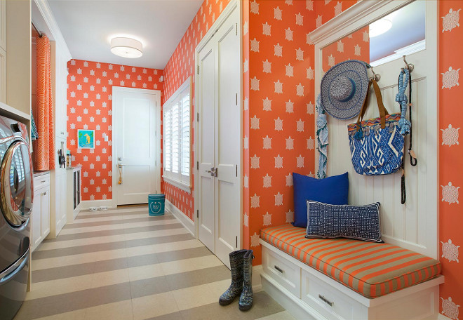 Mudroom Laundry Room, Combination of mudroom and laundry room with wallpaper and low maintenance flooring #mudroom #laundryroom, The flooring is Marmoleum tile #lowmaintenanceflooring #Marmoleumtile Lucy Interior Design Spacecrafting Photography