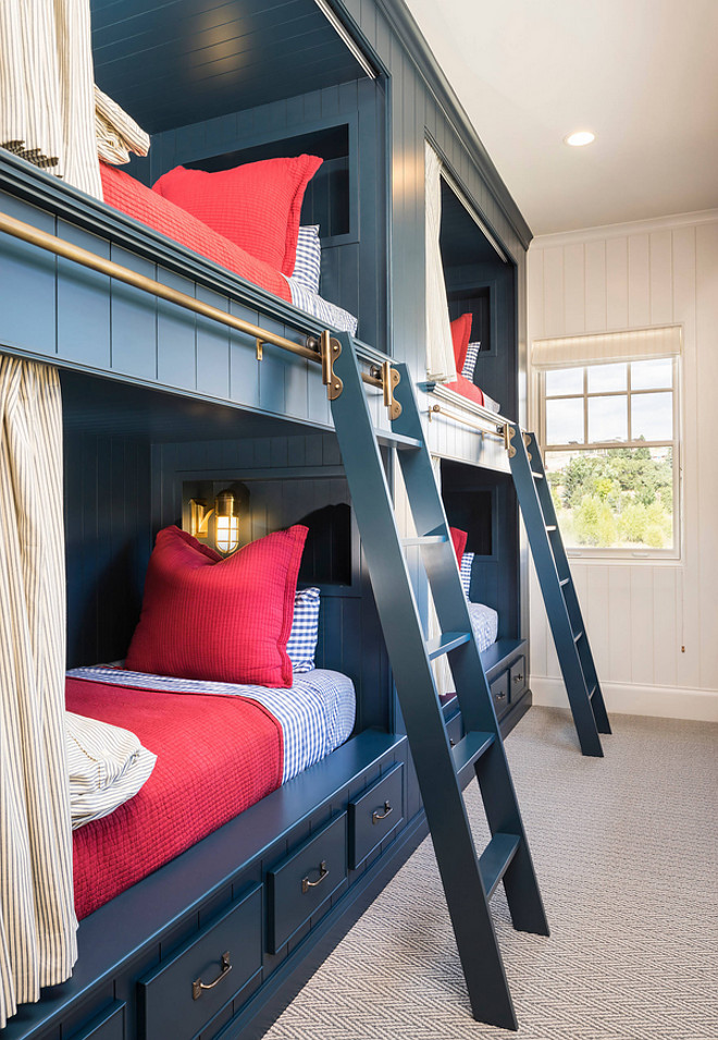 Navy Bunk Beds. Navy Bunk Beds. Bunk room with Navy Bunk Beds and brass hardware. Navy Bunk Beds. #NavyBunkBeds #NavyBunkBed #NavyBunkBedIdeas #Bunkroom Jackson and LeRoy.