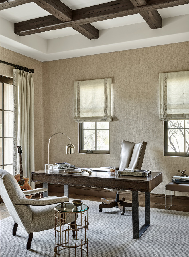 Neutral home office with grasscloth wallpaper and stained coffered ceiling beams #Neutralhomeoffice #homeoffice #grassclothwallpaper #stainedcofferedceilingbeams #cofferedceilingbeams Kim Scodro Interiors