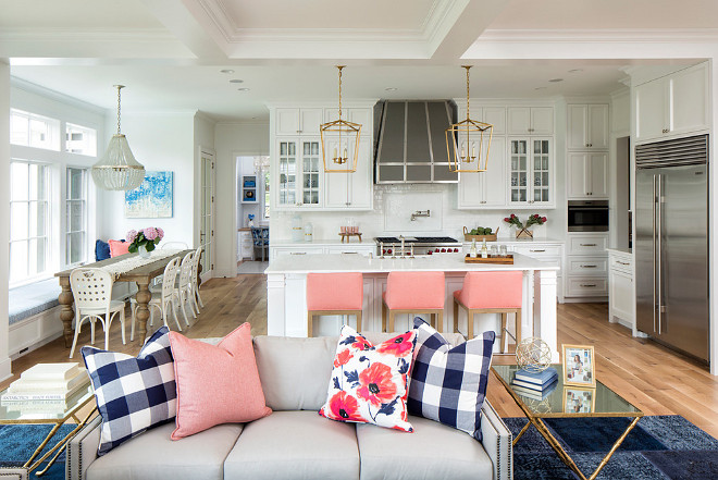 Open concept kitchen living room color scheme, Open concept kitchen living room color scheme with navy blue and soft pink. Open concept kitchen living room color scheme ideas #Openconcept #kitchen #livingroom #colorscheme Martha O'Hara Interiors. John Kraemer & Sons