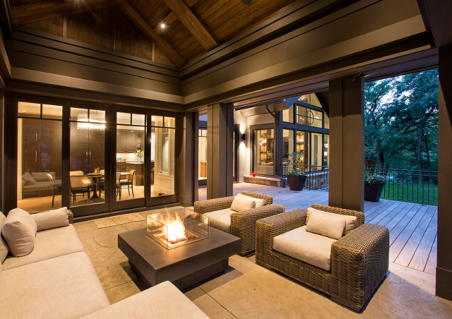 Outdoor Furniture, Comfortable outdoor furniture and firepit are from Restoration Hardware Hendel Homes