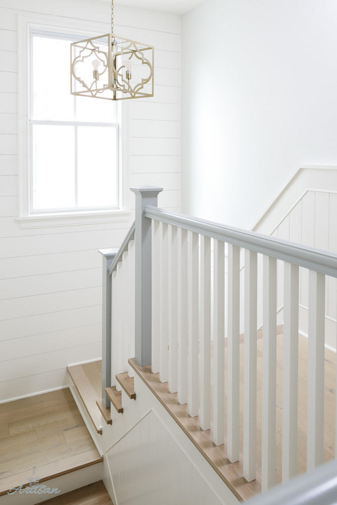 Painted Handrails. Painted Handrails are painted Coventry Grey by Benjamin Moore. Grey Handrails #PaintedHandrails #Handrail #PaintedHandrail #CoventryGreybyBenjaminMoore Built by Artisan Signature Homes. Interior Design by Gretchen Black from Greyhouse Design