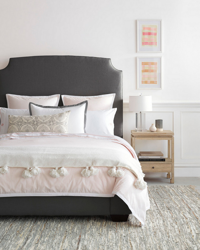 Pale Pink Bedroom with charcoal headboard #PalePink #Bedroom #PalePinkBedroom #charcoalheadboard #headboard Serena & Lily