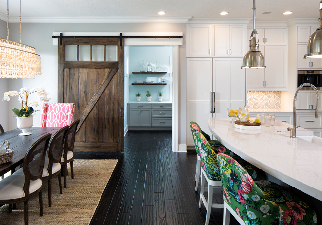 Pantry Barn Door, Kitchen pantry with barn door, Stained Pantry Barn Door Barn Door: Wood Species – Knotty Alder.  Finish – Praline/Charcoal Glaze.  Overall Size is 4' x 8' #PantryBarnDoor #Pantry #BarnDoor Grace Hill Design