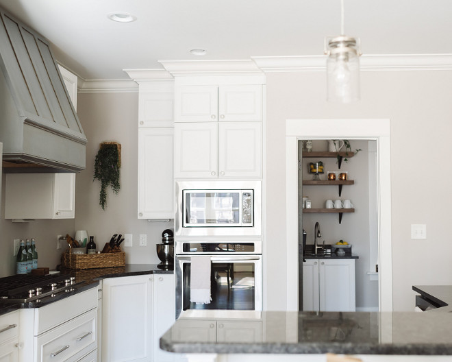 Pantry off kitchen, Pantry layout, Farmhouse kitchen and Farmhouse pantry. Pantry off kitchen Layout #pantry #farmhousekitchen #pantrylayout #kitchenlayout  Beautiful Homes of Instagram @thegraycottage