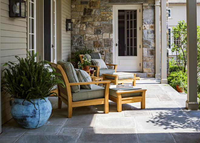 Porch Stone Flooring. Porch Stone Floor. The porch floor are random-size bluestone pavers. Porch Stone Floor Tile. #Porchflooring #StoneFlooring #StoneFloor #StoneFloorTile Haver & Skolnick LLC Architects
