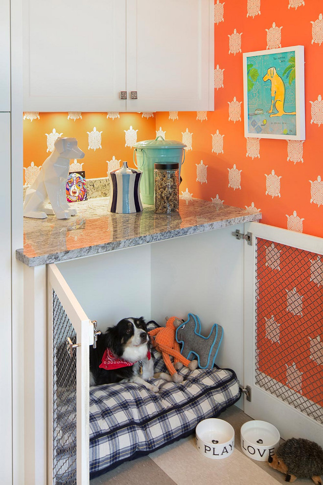 Pet Crate and feeding cabinet, Pet Crate and feeding cabinet layout. Laundry room mudroom with Pet Crate and feeding cabinet #PetCrate #feedingcabinet #petcabinet #petcrate Lucy Interior Design