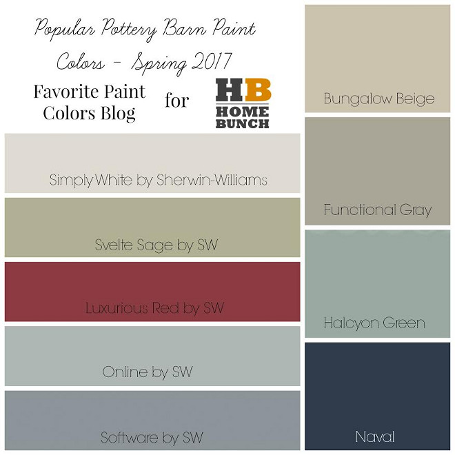 Popular Spring 2017 Paint Colors. Popular Pottery Barn Paint Colors Spring 2017 Sherwin Williams. Simply White Sherwin Williams. Svelt Sage Sherwin Williams. Luxurious Red Sherwin Williams. Online Sherwin Williams. Software Sherwin Williams. Bungalow Beige Sherwin Williams. Functional Sherwin Williams. Halcyon Green Sherwin Williams. Naval Sherwin Williams #PopularPaintColors #Spring2017PaintColors #2017PaintColors #PopularPotteryBarnPaintColors #2017PotteryBarnPaintColors #PotteryBarnPaintColors #Spring2017 #SherwinWilliamsPaintColors #2017SherwinWilliamsPaintColors #SimplyWhiteSherwinWilliams #SveltSageSherwinWilliams #LuxuriousRedSherwinWilliams #OnlineSherwinWilliams #SoftwareSherwinWilliams #BungalowBeigeSherwinWilliams #FunctionalSherwinWilliams #HalcyonGreen SherwinWilliams #NavalSherwinWilliams Favorite Paint Colors Blog for Home Bunch.