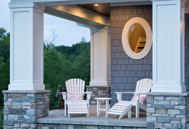 "Porch Columns, Square Porch Columns, Stone Square Porch Columns, The pillars are 1' 10"" square on a 2'10"" square stone base and the exterior stone is Fountain Hills w/15% Blue River Variegated, Square Porch Columns Ideas #SquarePorchColumns #PorchColumns #StonePorchColumns"