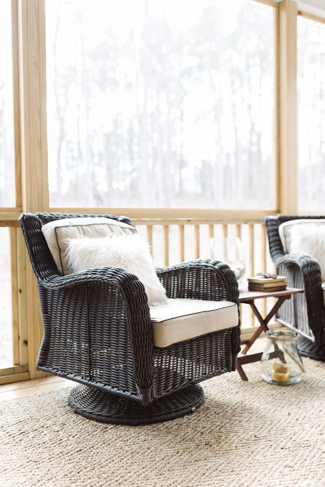 Screened in porch furniture and outdoor rug  Beautiful Homes of Instagram @thegraycottage