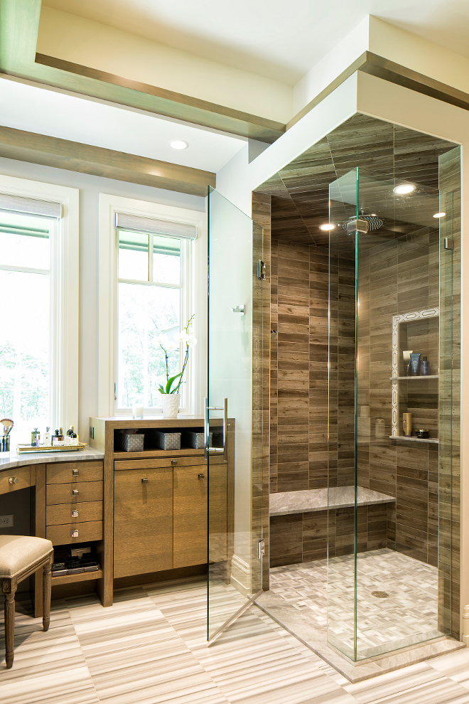 Seamless glass shower, Organic bathroom design with Seamless glass shower #Seamlessglassshower #glassshower Hendel Homes