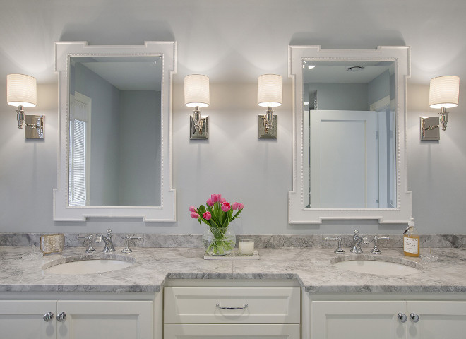 Sherwin Williams SW 6246 North Star. Grey bathroom paint color Sherwin Williams SW 6246 North Star. Grey quartzite countertop is White Fantasy Quartzite #WhiteFantasyQuartzite #GreyQuartzite #SherwinWilliamsSW6246NorthStar Revision LLC