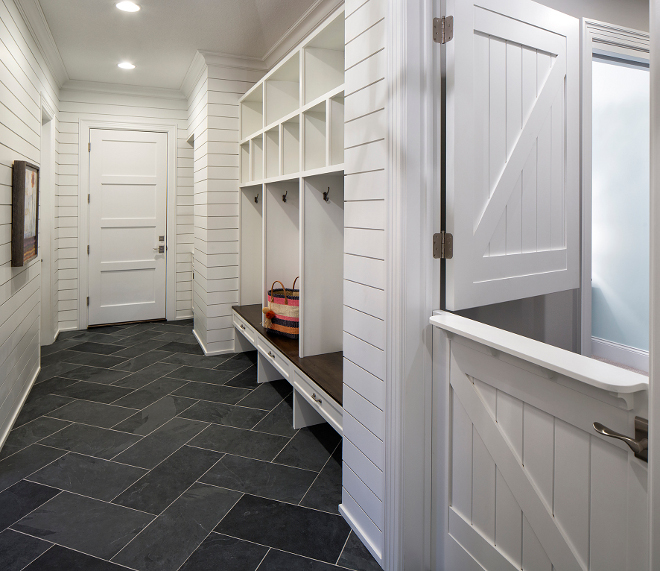 Shiplap mudroom and herringbone stone tile, Mudroom with Shiplap paneling and herringbone Bluestone tile, The mudroom feature shiplap walls and Bluestone floor tile laid in a herringbone pattern  #Mudroom #Shiplap #Shiplappaneling #paneling #herringbone #Bluestone #tile  Grace Hill Design