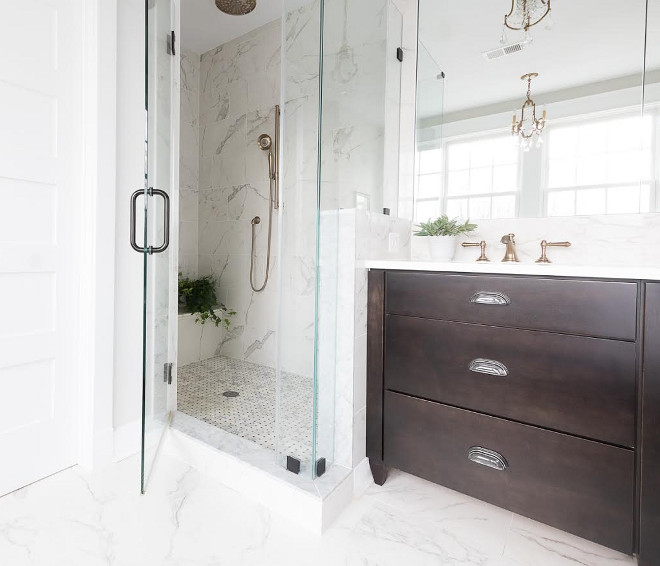 Shower tile Ceramic 12 x 24, made to look like marble. Floor has radiant heat  Beautiful Homes of Instagram @greensprucedesigns
