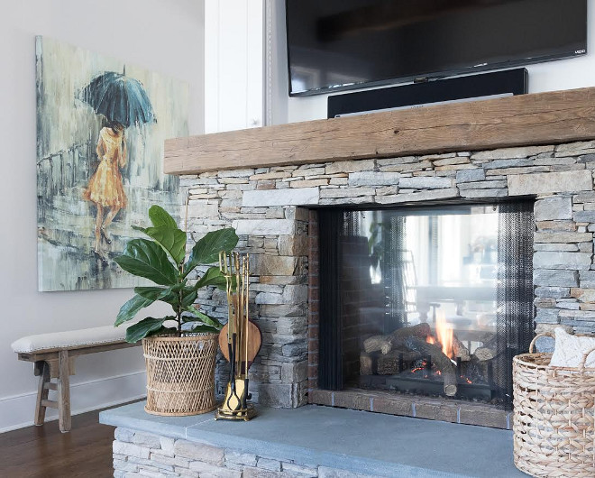 Stacked Stone Fireplace. Stacked fireplace stone is Foggy Bottom Silver. Stacked Stone Fireplace #StackedStone #Fireplace #StackedStoneFireplace Beautiful Homes of Instagram @greensprucedesigns
