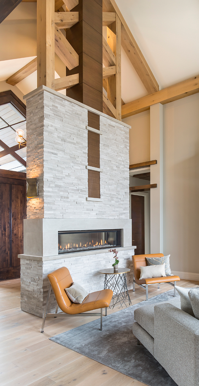 Stone and Beams Fireplace, Stone and Beams Fireplace, Double sided Stone and Beams Fireplace #StoneandBeamsFireplace #Fireplace Hendel Homes