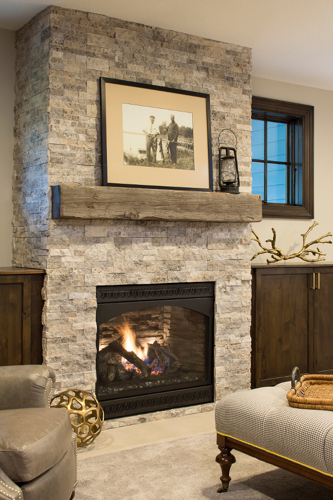 Stone fireplace with reclaimed timber mantel, Farmhouse Stone fireplace with reclaimed timber mantel #Stonefireplace #reclaimedtimbermantel #fireplace #farmhouse #farmhousefireplace Grace Hill Design