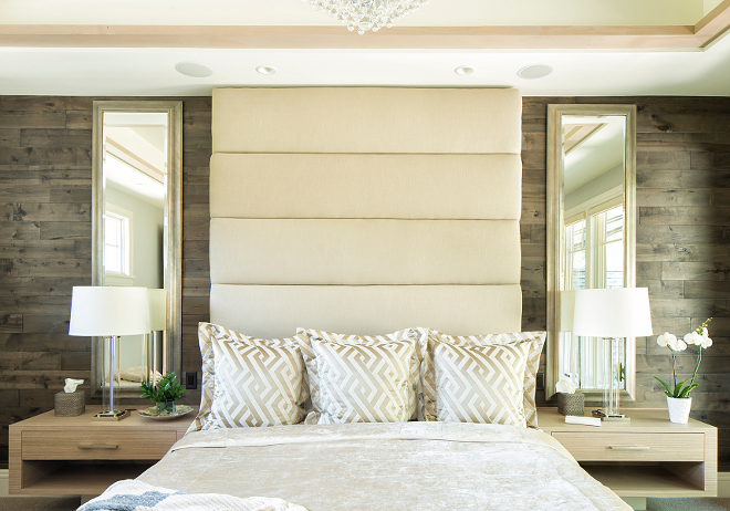 Tall headboard Custom Tall headboard against stained shiplap paneling #Tallheadboard #stainedshiplap #shiplap #paneling Hendel Homes