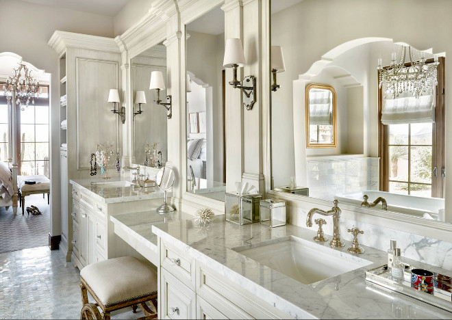 Traditional Bathroom, Classic Traditional Bathroom, Classic bathroom with ivory white cabinets and polished marble countertop. Faucets are by Rohl Timeless Traditional Bathroom, Traditional Bathroom Design #TraditionalBathroom