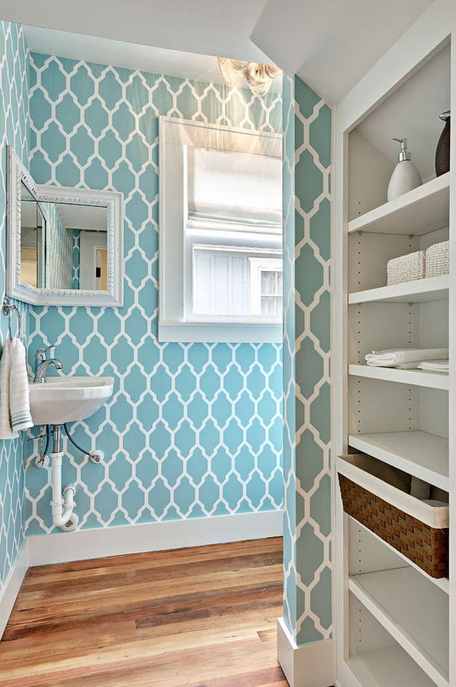 Turquoise Wallpaper. Turquoise Wallpaper is Farrow and Ball. The pattern is Tessella. Turquoise Wallpaper is Farrow and Ball. The pattern is Tessella. Floors are a reclaimed longleaf pine floors with a wax finish. #TurquoiseWallpaper Avenue B Development