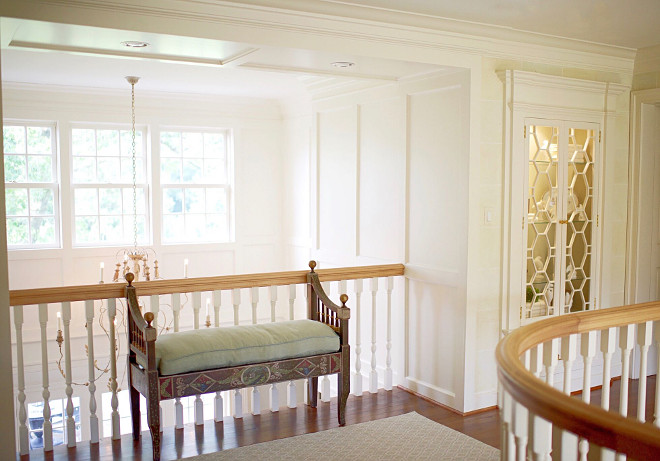 Upstairs Landing Paint is Benjamin Moore Ivory White 925, hardware is P.E. Guerin, bench is from Amy Howard Collection. #UpstairsLanding Home Bunch's Beautiful Homes of Instagram @loveyourperch