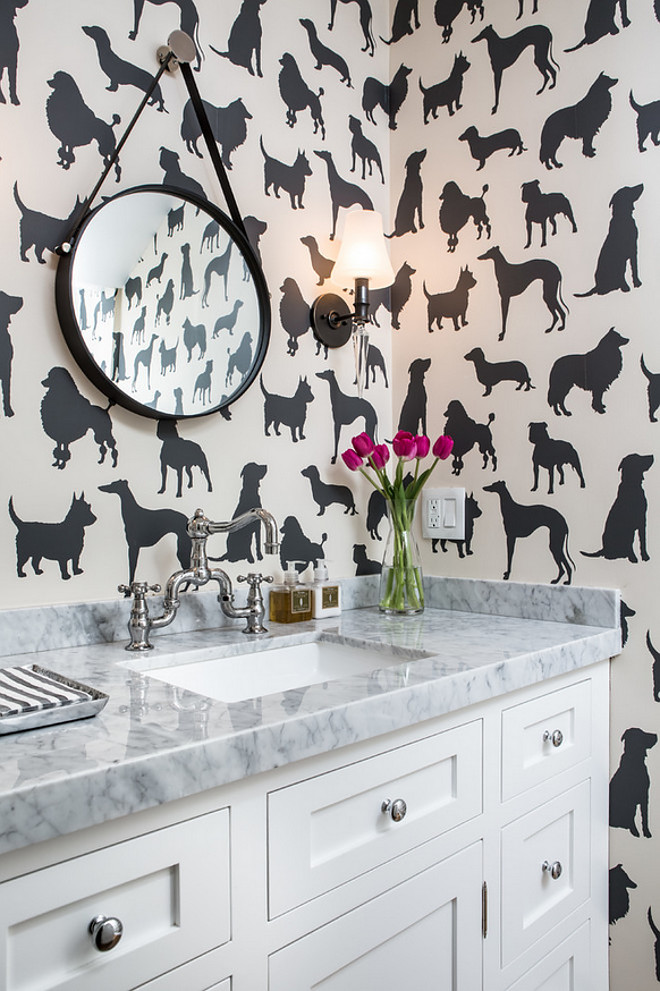 Walk in the Park Best in Show Wallpaper Osborne and Little. Powder Room Dog Wallcovering Walk in the Park Best in Show Wallpaper Osborne and Little #WalkinthePark #BestinShow #Wallpaper #OsborneandLittle A.S.D. Interiors